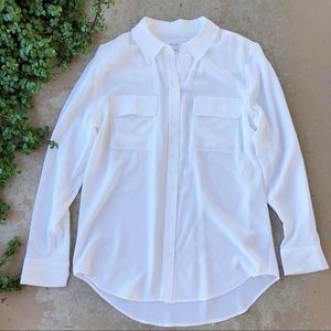 Equipment White Button Down Silk Blouse Top